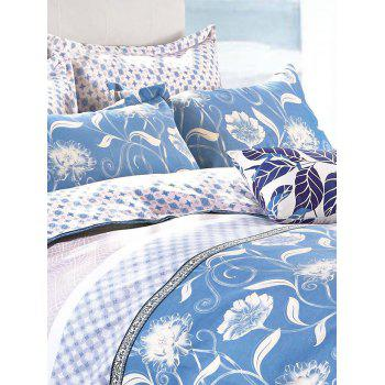 Queen Size Flower Printing Comfortable 4Pcs Bedding Set -  BLUE