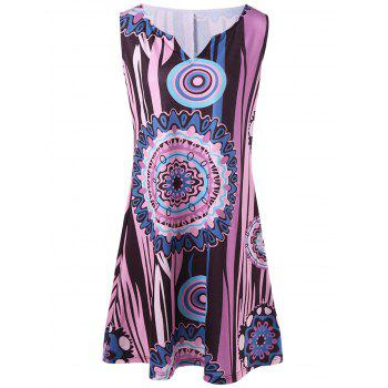 Funny Printed Plus Size Short Sleeveless Dress