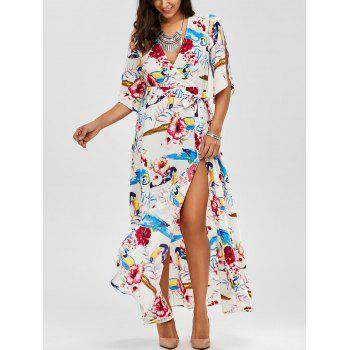 High Slit Flower Belted Beach Maxi Surplice Dress - WHITE L