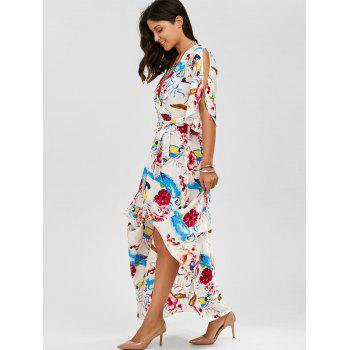 High Slit Flower Belted Beach Maxi Surplice Dress - L L