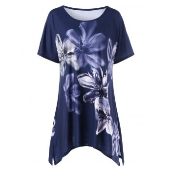 Printed Plus Size Tunic Swing Top With Slit