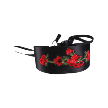 Chinoiserie Flowers Embroidery Wide Corset Belt - BLACK BLACK