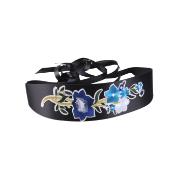 Floral Embroidery Chinoiserie Wide Corset Belt - BLUE BLUE