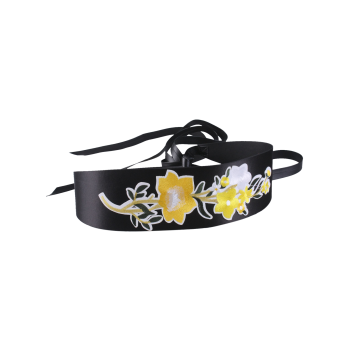 Floral Embroidery Chinoiserie Wide Corset Belt -  YELLOW