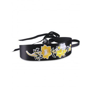 Floral Embroidery Chinoiserie Wide Corset Belt - YELLOW YELLOW