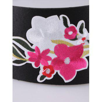 Floral Embroidery Chinoiserie Wide Corset Belt -  BRIGHT RED