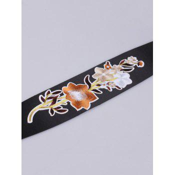 Floral Embroidery Chinoiserie Wide Corset Belt -  BROWN