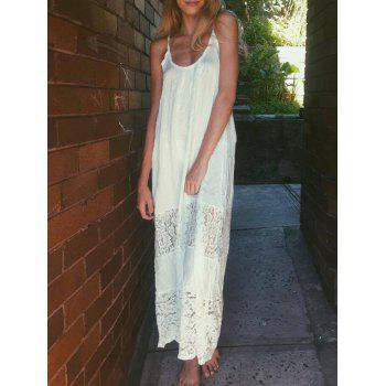 Spaghetti Strap Floral Pattern Lace Maxi Dress