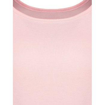 Lace Panel Asymmetrical Tee - PINK PINK