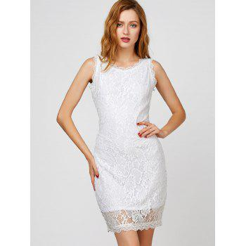 Back Cutout Lace Bodycon Dress - S S