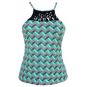 High Neck Cross Back Zigzag Swim Top - GREEN XL