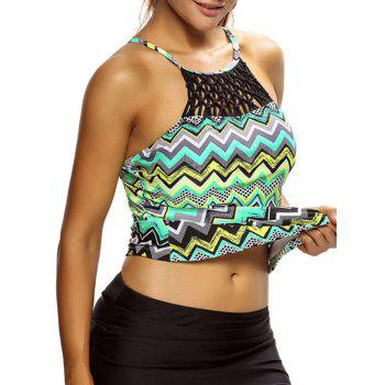 High Neck Cross Back Zigzag Swim Top - S S