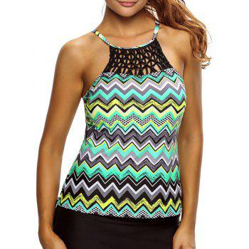 High Neck Cross Back Zigzag Swim Top - COLORMIX S