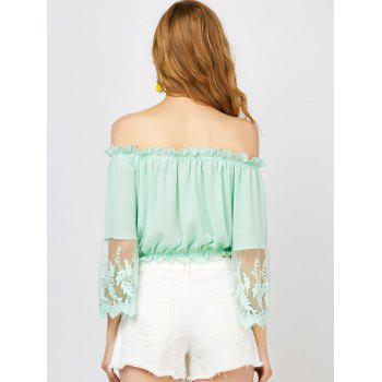 Lace Trim Off The Shoulder Chiffon Top - LIGHT GREEN LIGHT GREEN