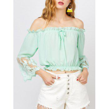 Lace Trim Off The Shoulder Chiffon Top