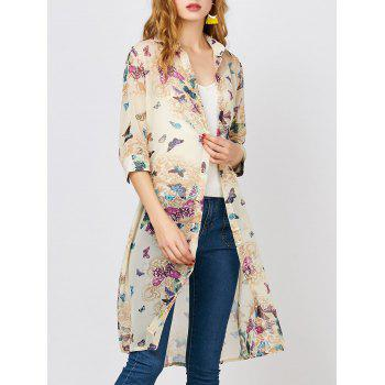 Butterfly Print Button Up Chiffon Blouse