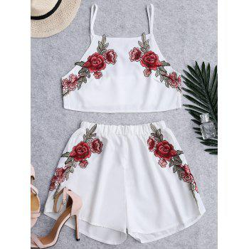 Floral Patched High Waist Cami Suits - WHITE WHITE