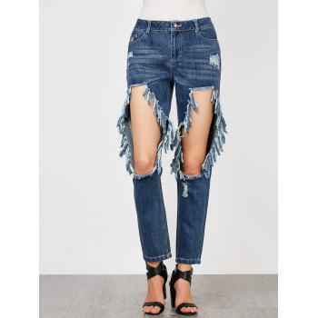Cat's Whisker and Hole Embellished Jeans