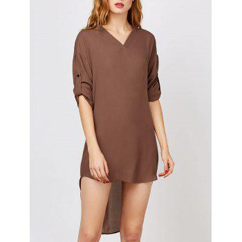 V Neck Casual T Shirt High Low Dress