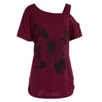 Long Plus Size Butterfly Printed Cutout Shoulder T-Shirt