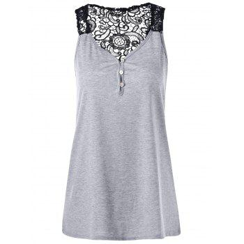 Button Lace Hollow Out Racerback Tank Top