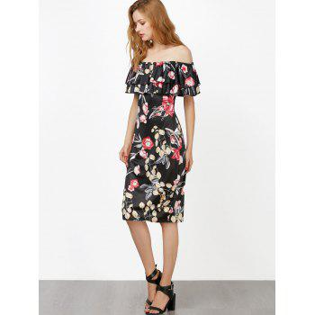 Off The Shoulder Floral Ruffle Layer Dress - XL XL