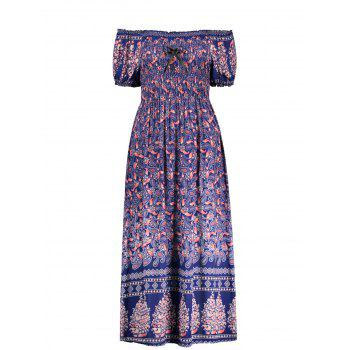 Elastic Chest Puff Sleeve Midi Paisley Dress