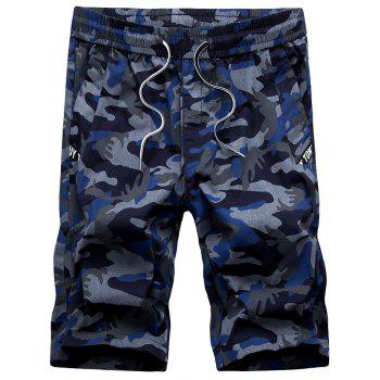 Drawstring Waist Army Camo Shorts