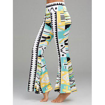 Geometrical Printed High Waisted Flare Pants - 2XL 2XL
