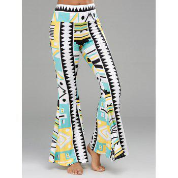 Geometrical Printed High Waisted Flare Pants - COLORMIX 2XL