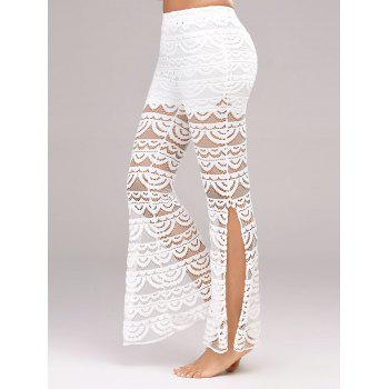 Side Slit See Thru Lace Pants