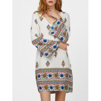 Drawstring Flare Sleeve Print Dress with Tassel