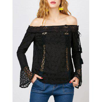 Off The Shoulder Lace Trim Long Sleeve Top