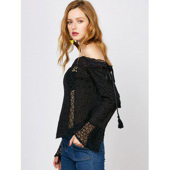 Off The Shoulder Lace Trim Long Sleeve Top - XL XL