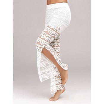 Side Slit See Thru Lace Pants - WHITE WHITE