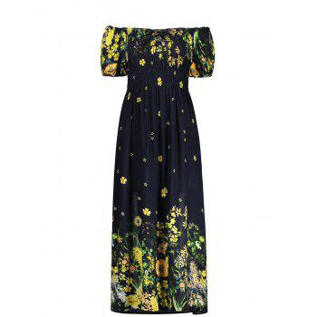 Puff Sleeve Elastic Chest Midi Flower Dress