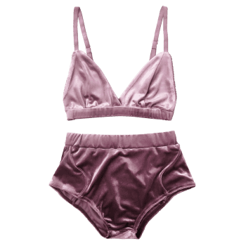 Velvet High Waist Bra Set - S S