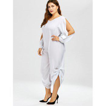 Stylish V-Neck Long Sleeve Plus Size Cut Out Women's Jumpsuit - WHITE XL