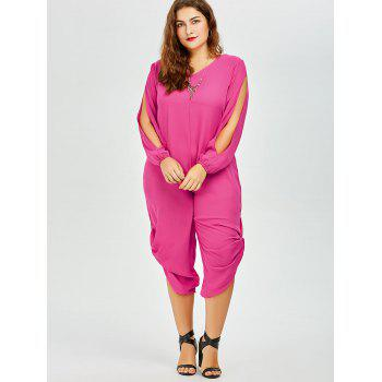 Stylish V-Neck Long Sleeve Plus Size Cut Out Women's Jumpsuit - ROSE M
