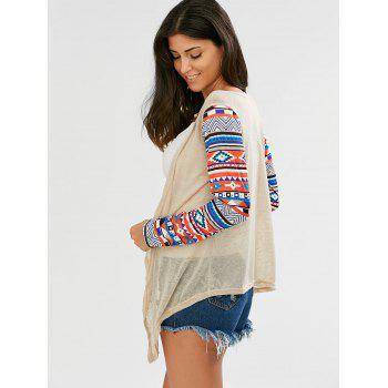 Open Front Collarless Asymmetric Cardigan - BEIGE L