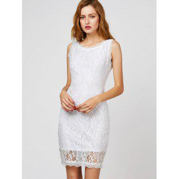 Back Cutout Lace Bodycon Dress - WHITE S
