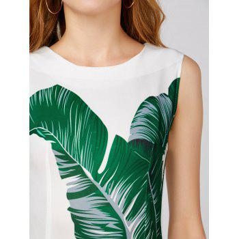 Leaf Print Sleeveless Bodycon Dress - WHITE S