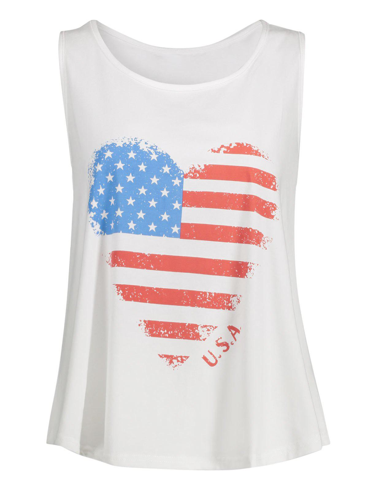 Heart Pattern Plus Size American Flag Tank Top - Blanc 4XL