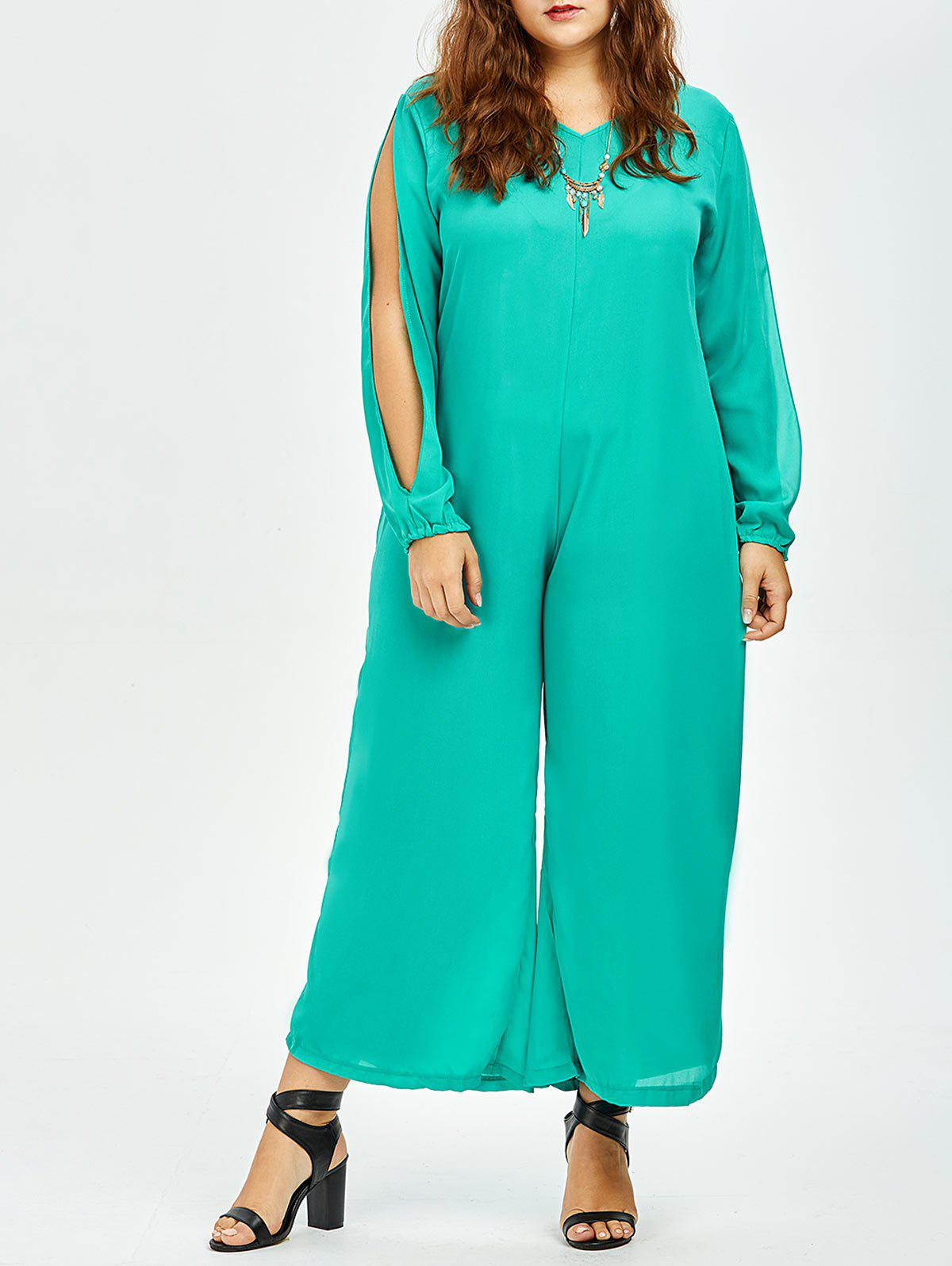 Stylish V-Neck Long Sleeve Plus Size Cut Out Women's Jumpsuit - GREEN M
