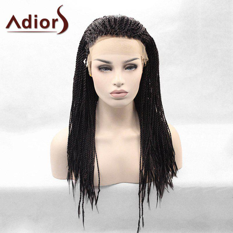 Adiors Long Lace Front Afro Twist Braids Synthetic Wig lace box braids wig synthetic black hair