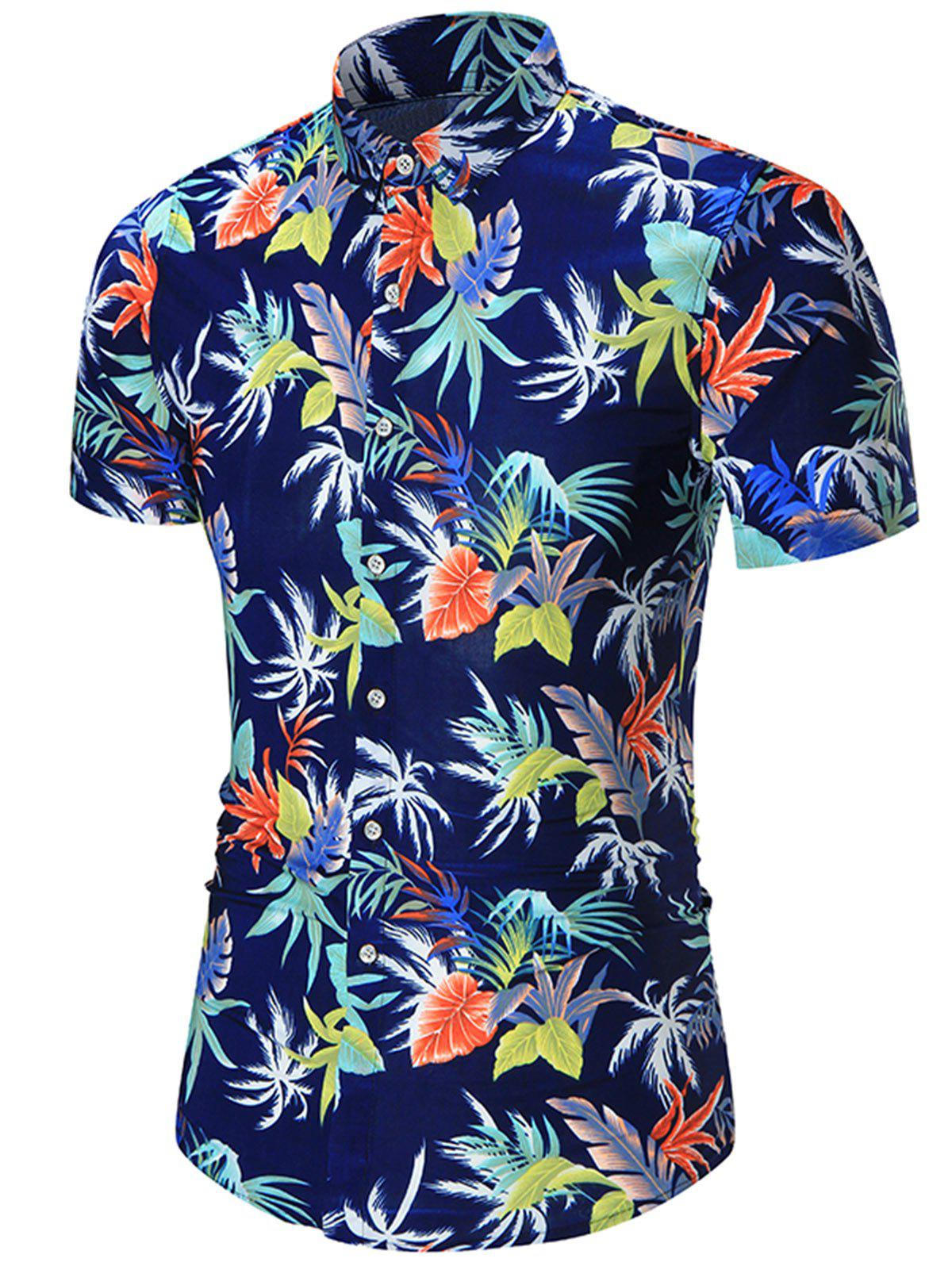 Leaves Print Plus Size Hawaiian Shirt - JACINTH 5XL