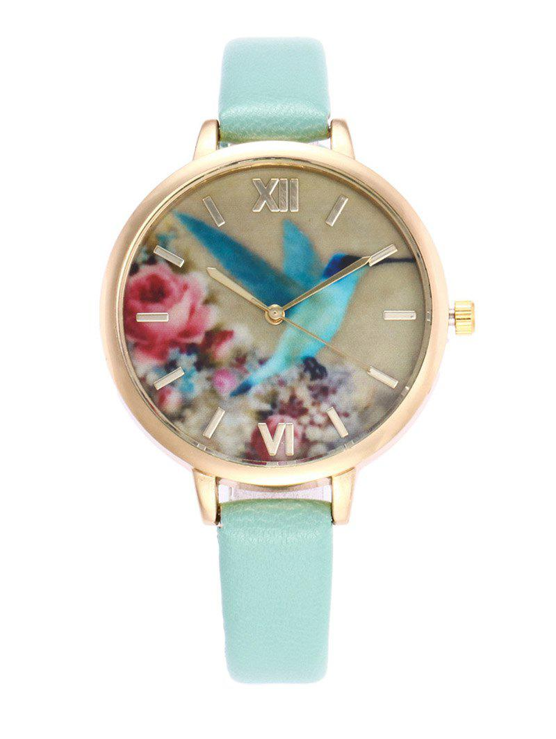Bird Floral Roman Numeral Faux Leather Watch floral bird roman numeral faux leather watch