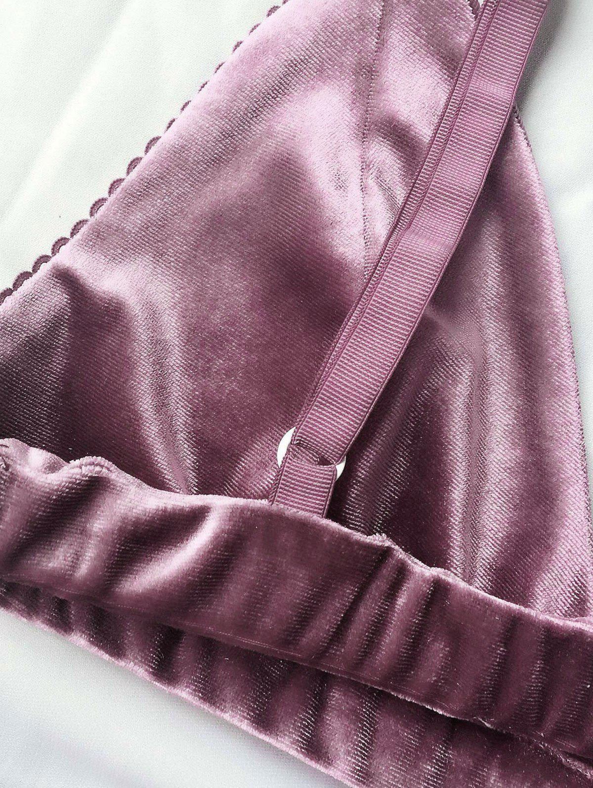 Velvet High Waist Bra Set - PURPLE L