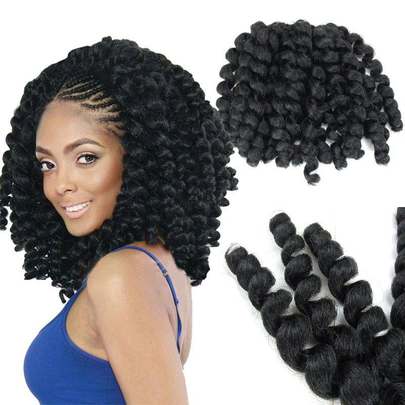 1 Piece Afro Synthetic Wand Curl Hair Extension - BLACK