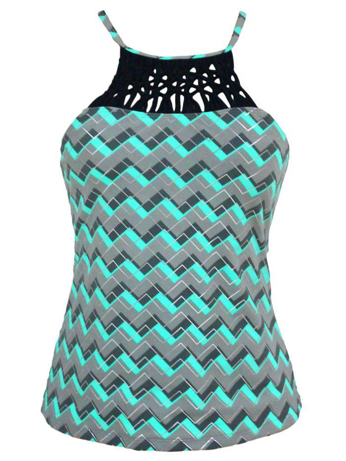 High Neck Cross Back Zigzag Swim Top - GREEN M